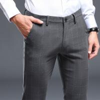 秋冬季男士休闲裤英伦大格子修身小脚裤韩版西裤潮流男裤商务长裤