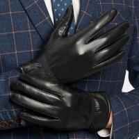 №【2019新款】冬天带的触屏真皮手套男士绵羊皮骑车手套加绒厚皮手套男薄款海宁