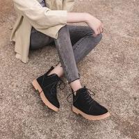 2019秋季新款绒面马丁靴女英伦风切尔西靴系带磨砂粗跟短靴女靴子 T93菲 黑色