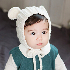 Yinbeler双耳系带毛线帽秋冬婴儿帽子0-1-2岁宝宝儿童手工针织帽男童女童新生儿帽子