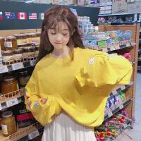 2018韩版卡通少女印花宽松长袖套头卫衣外套泡泡袖上衣女秋装新款