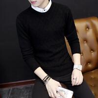 秋季男士长袖T恤韩版修身衬衫领毛衣假两件上衣学生带领针织衫潮