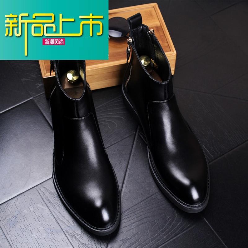 新品上市男士尖头真皮马丁靴内增高拉链皮靴高帮休闲皮鞋保暖加毛短男靴子 5920秋款 标准版  新品上市,1件9.5折,2件9折
