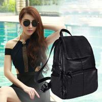 女士双肩背包6新款皮双肩包时尚女士背包旅行女包包书包 XB01 黑色