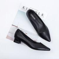 舒适好看!时尚新品职业工作鞋女黑色皮鞋粗跟高跟鞋细跟尖头中跟单鞋绒面OL面试正装青春靓丽