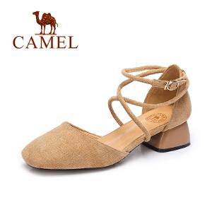 camel骆驼女单鞋  春夏季新款低帮女鞋 优雅舒适性感绑带中跟方头鞋子