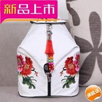新款双肩包 中国风绣花休闲旅行背包帆布刺绣女包