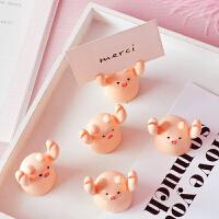 尼家桌面创意迷你卡通小猪猪举牌夹少女心可爱照片便签备忘留言夹