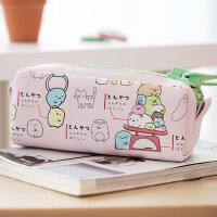 咔巴熊女生个性黑白创意文具 可爱大拉链笔包卡通帆布大容量笔袋