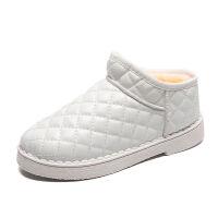 2019冬季女士雪地靴短筒韩版皮面保暖加绒学生平底短靴棉鞋面包鞋