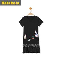 【3件6折/2件7折】巴拉巴拉女童连衣裙亲子装母2017夏装新款儿童蕾丝公主裙莫代尔裙