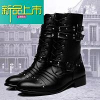 新品上市秋冬季男士马丁靴长筒中筒皮靴英伦靴子韩版男靴单鞋高筒靴潮