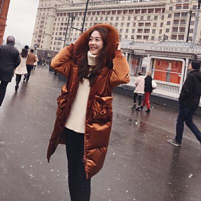 谜秀羽绒服女中长款2017新款韩国大毛领白鸭绒过膝加厚外套冬季潮90以上白鸭绒,大毛领