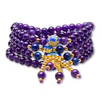 芭法娜 紫梦妖蓝 天然紫水晶6mm多圈手链 烧蓝配饰 民族风