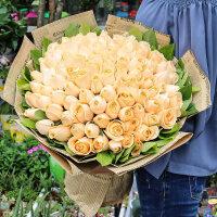 七夕节鲜花东营同城速递红粉白香槟玫瑰花束礼盒垦利广饶滨州送花 不含花瓶