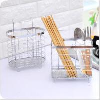 创意加厚不锈钢筷子笼家用双筒挂式沥水筷子置物架