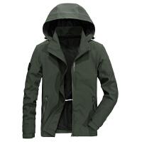 9851A秋冬战地吉普加绒中长款夹克衫外套可脱卸帽弹力休闲男茄克衫
