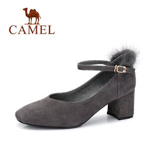 Camel/骆驼女鞋 2017秋季新款 优雅时尚粗跟单鞋女
