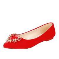 婚鞋女夏季结婚鞋红色新娘鞋孕妇绒面平底单鞋礼服中式秀禾水钻鞋