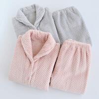 家居服套装情侣睡衣秋冬季女士珊瑚绒男士法兰绒加绒厚冬季保暖