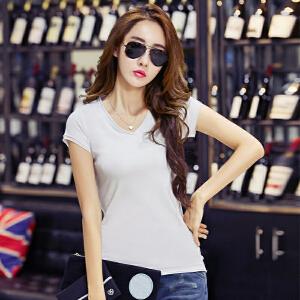 卡茗语夏季新款女装体恤纯色纯棉修身V领短袖女T恤韩版上衣潮