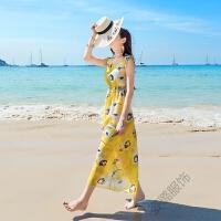 海岛海滩裙连衣裙女夏2018海边度假沙滩裙仙 图片色 面料:雪纺