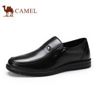 骆驼牌 男鞋 春秋新款真皮男士商务休闲软底皮鞋圆头套脚皮鞋