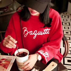 卡茗语冬季金丝绒卫衣女韩版潮学生bf宽松套头加绒加厚中长款绒衫外套