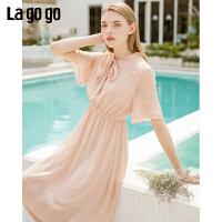 【5折价197】Lagogo/拉谷谷2019夏季新款气质收腰雪纺连衣裙女IALL333G57