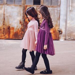 女童秋冬款连衣裙套装2017新款儿童裙子女宝宝公主裙童装吊带纱裙