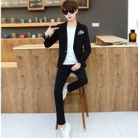 男士休闲西服套装男青年韩版修身型西装两件套潮流小西装帅气一套
