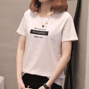 韩版新款圆领学院字母印花上衣宽松短袖T恤女