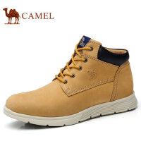 camel 骆驼男鞋 秋季新品日常休闲高帮鞋磨砂牛皮休闲男鞋