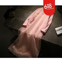 原创设计师原创精品手绘文艺复古连衣裙 秋冬打底长裙GH026 粉红色 前襟手绘牡丹