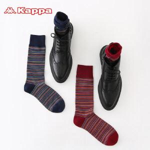 Kappa/卡帕(2双装)时尚个性条纹四季长筒男袜KP8W04