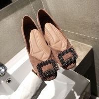 鞋子女学生韩版豆豆鞋百搭春季新款水钻搭扣平底鞋网红单鞋女
