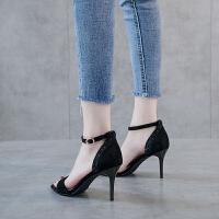 高跟凉鞋女2019夏季新款细跟一字带性感罗马黑色女士简约百搭鞋子夏季百搭鞋