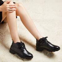 新款短靴女粗跟圆头百搭英伦马丁靴子女鞋防滑加绒棉鞋