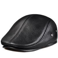 薇普冬季男士帽真皮帽子休闲牛皮贝雷帽保暖鸭舌帽前进帽