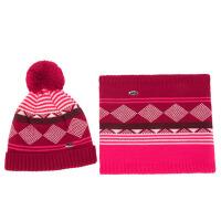 冬帽子围巾两件套菱格儿童2-6-8毛线加绒围脖男童女童帽