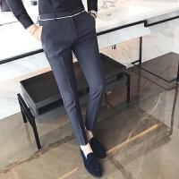 秋季英伦青年气质绅士风休闲长裤男士韩版商务修身发型师小脚西裤