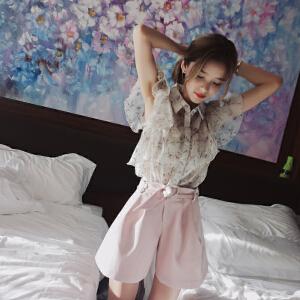 谜秀 雪纺衫衬衫女2017夏装新款韩版短袖碎花荷叶边女装上衣潮