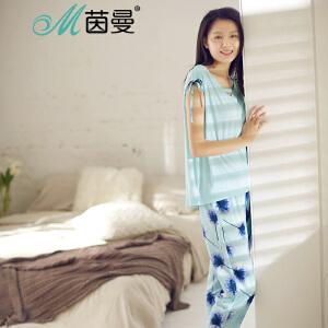 包邮 茵曼内衣无袖抽带设计舒适V领棉质水墨印花家居服套装9872482015