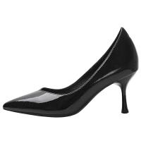 漆皮高跟鞋少女细跟2019春季新款百搭黑色尖头性感工作鞋学生单鞋夏季百搭鞋