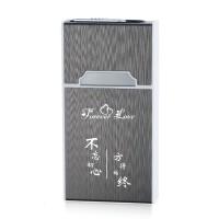 细烟20支整包装烟盒铝合金贴片带USB充电打火机一体创意防风刻字