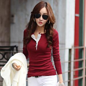 2017春秋装新款女士打底衫韩版时尚修身v领显瘦撞色纯棉长袖T恤女