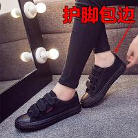低帮全黑色帆布鞋女生纯黑透气工作板鞋子学生休闲韩版小黑鞋 35 女款
