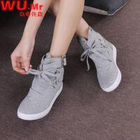 乌龟先森 短靴 女士秋冬韩版低帮平跟短靴子女式圆头休闲运动帆布学生鞋子