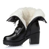 羊毛中跟粗跟女靴冬季棉靴中筒靴女棉鞋马丁靴女短靴军靴