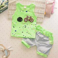 儿童纯棉背心套装宝宝夏装男童女童两件套童装婴儿夏季衣服 背心自行车绿
